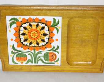 Vintage Blooming Flowers Serving Tray/Rolling Tray