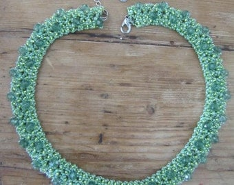 Pale Green and Yellow Handmade Beaded Necklace
