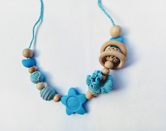 Nursing  necklace Silicone teething necklace Crochet teething necklace Babywearing necklace Breastfeeding necklace Wooden beaded necklace