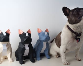 Pre-cut and Pre-scored French Bulldog (Frenchie) Kit - Low Poly