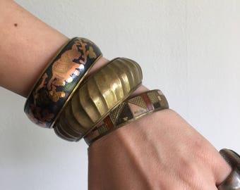 vintage bangles trio | bohemian | jewlery | gold patina