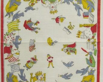 Old King Cole nursery rhyme hankie 1950's
