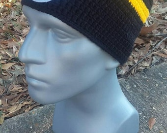 Pittsburgh Steelers Black, White & Yellow Crochet Slouchy Beanie with Logo