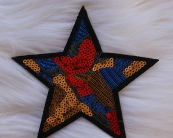 Blue, Red and Gold Star Tumblr DIY Iron-on Embroidered Patch!