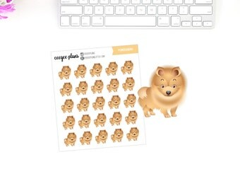 Pomeranian Planner Stickers | 25 Dog Stickers for ANY Planner