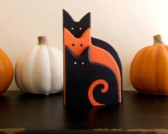 Cat Trio with Rhinestone Eyes    Halloween Decor    Orange and Black Wooden Cat Ornament