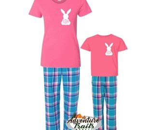 Easter Bunny Pajamas, Family Matching pajamas, Youth pajamas, Flannel Lounge Pants, Easter Tee shirt, Matching Family Pajamas, Easter gift