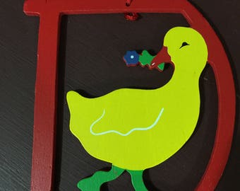 "Vintage Wood Animal / Letter ornaments ""D for Duck"""