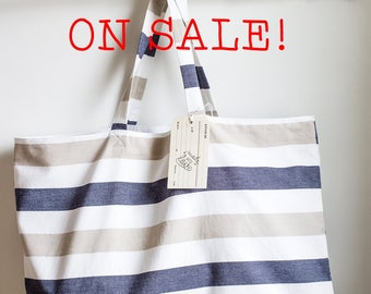 Large Summer Bag, Striped Cotton Tote, Nautical tote, Beach tote, Summer Tote Bag, Nautical Sail Tote Bag, Tote Bag with Zipper Pocket
