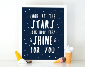 Look at the stars look how they shine for you, space nursery, Nursery printable, Kids room decor, Nursery decor, planet print, printable art