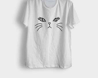 Cat shirt cute cat face tee shirts kitten clothes tumblr cat lover gift hipster womens ladies funny cat print shirt size XS S M L XL