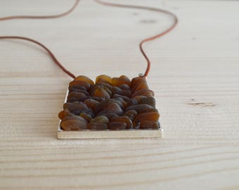 Brown beach glass square pendant necklace