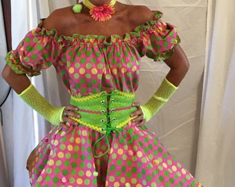 Funky clown costume-size 10-12-pink, green, yellow-skirt, petticoat, top, corset belt, hat and glovelets and choker.