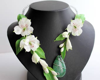 white flower necklace lily jewelry white necklace modern necklace bridal flowers polymer clay jewelry gift wife birthday gifts special FJ5