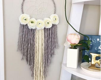 dreamcatcher, dream catcher, nursery baby dreamcatcher, floral flower large rustic gray white bohemian dreamcatcher, boho wall hanging