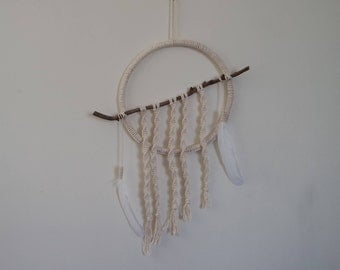 Macramé Hoop Wall Hanging with Feathers