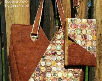 Vespera Tote with Removable Pocket Pouch / Wristlet PDF Sewing Pattern- RLR Creations