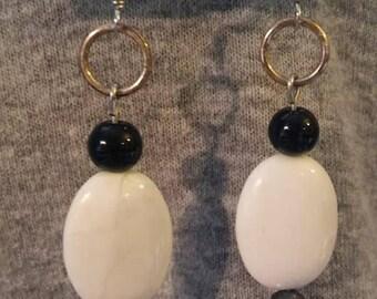 Howlite, hematite, and obsidian earrings