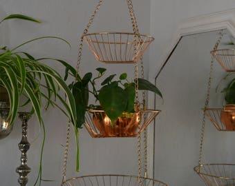 Vintage Hanging Metal Baskets copper/tiered/boho/plant hanger/fruit basket/kitchen/home decor