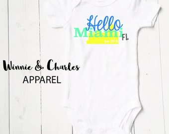Hello World Onesie, Miami Bodysuit, Baby Girl Clothes, Baby Boy Gift, Take Home Onesie, Coming Home Bodysuit, Baby Shower Gift