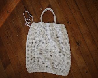 White Drawstring Market Bag