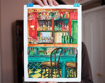 Cafe Artwork Original Watercolor Bar Artwork Drinks Painting Bar Drinks Wall Art Cafe Painting Cafe Wall Art Pub Bar Art Cafe Art