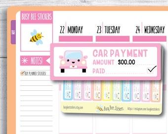 Car Payment Tracker Planner Stickers, Bill Payment Stickers, Car Finance Tracker, Financial, Happy Planner Stickers, Erin Condren Stickers