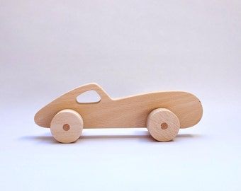 Wooden racing car toy = 100% wood + natural oils with propolis
