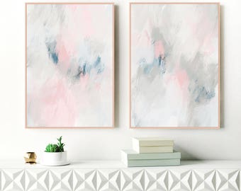 Grey, Pink and Navy Abstract Art, Set of Two Art Prints, Large Diptych Paintings, Printable Modern Art, Original Art, Extra Large Wall Art
