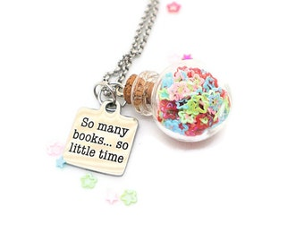 So Many Books So Little Time - Book quote necklace - Book necklace - Literary accessory - Book lover gift - Librarian gift - Literary gift