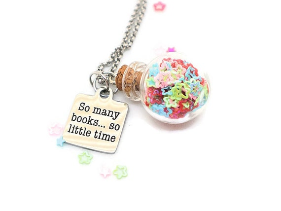 Librarian jewelry, Bookishness, Literary accessory, So many books so little time, Librarian accessory, Book friend gift, Book quote jewelry