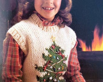 Knitting Pattern Christmas Tree Vest Knitting Patterns Kids Knit Pattern Children's Knit Pattern Christmas Gift Instant Download PDF Pattern