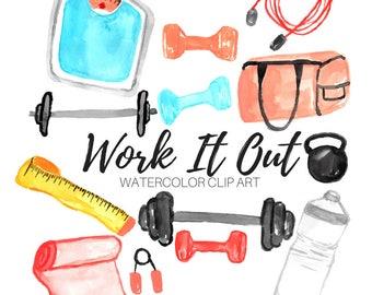 Gym clip art - Work out clip art - fitness clip art - watercolor clip art - commercial use