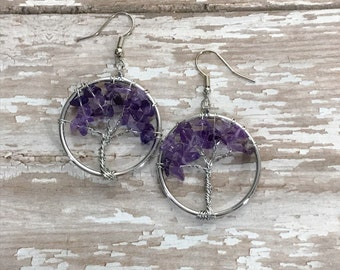 Amethyst Tree of life Earrings, Amethyst gemstone  earrings, Quartz earrings, Tree Earrings, Dangle earrings, Boho, Nature