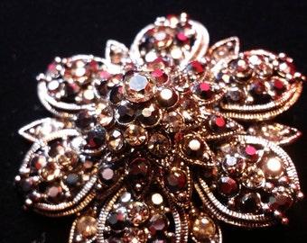 Vintage Black Iridescent Rhinestone Crystal Brooch