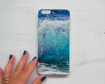 Wave iPhone 6 case Soft silicone Photo Print Ocean iPhone case blue iPhone case Gift for her for him iPhone 5 case Beach lovers gift