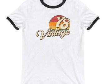 Vintage 1978 Birthday Ringer T-Shirt