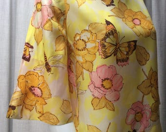 1960's Pretty, Sunny Yellow, Floral Print Top with bell sleeves.....