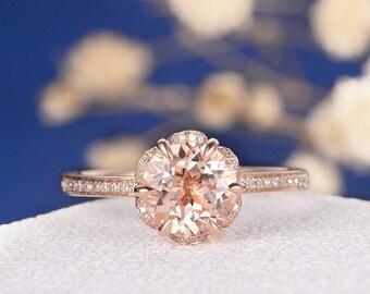 Unique Rose Gold Morganite Engagement Ring Art Deco Wedding Women Vintage Floral Antique Diamond Halo Flower Bridal Set Anniversary Gift Her