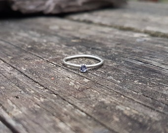 Petite Iolite & Recycled Sterling Silver Solitaire Ring