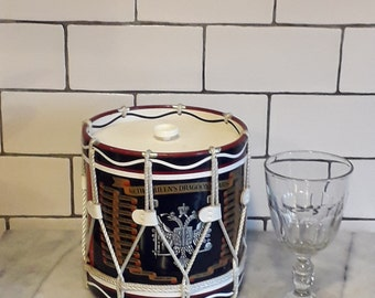 Military Drum Ice Bucket Vintage  Bar Ware  Queens Dargoon Guards Drum Ice Chest Regimental Replica Militaria Man Cave Decor  Gift for Him