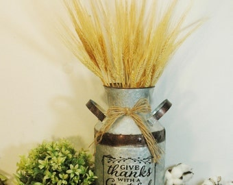 Iron Milk Can, Give Thanks, Fall decor, Autumn decoration, Fall decoration, Raffia bow, Milk Can, Vinatge style milk can, Milk bucket, Fall