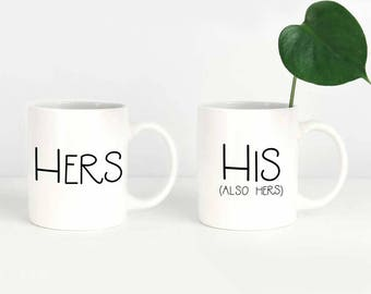 His and Hers Mugs, Funny Couples Mug Set, Engagement Mug Set, Couple Mugs, Wedding Couple Mugs, Engagement Mug Gift, Cute Mug Set for Couple