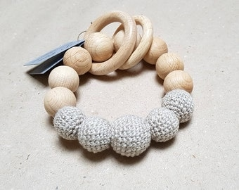 Neutral Organic baby teething toy, Teething bracelet, Linen rattle, Nursing and teething toy, Organic baby linen yarn Natural Ecological toy