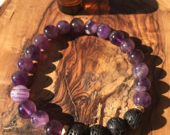 AMETHYST essential oil bracelet: intuition, calm, peace, stability, spirituality, meditation