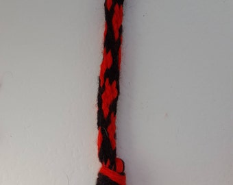 Red Hearts on Black, Plaited/Braided, Handmade, Bag, Zip pull, Key Decoration, Lobster swivel clip, Gift, Treat for loved one, Housewarming.