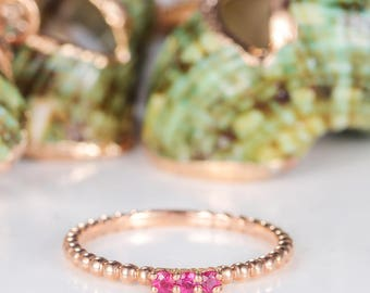 Rose Gold Stacking Ring Three Stone Stackable Mini Thin Beaded Bubble Eternity Band Birthstone Ring Gift Women Anniversary Promise