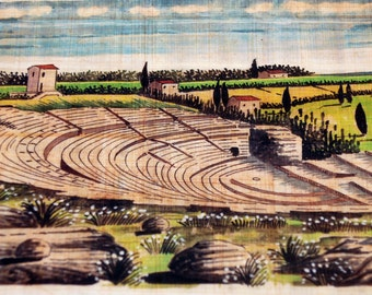 Traditional Sicilian Papyrus Bookmark, the Greek Theater in Syracuse