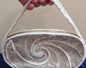 1950s La Regale Sequined and Beaded Bridal Purse