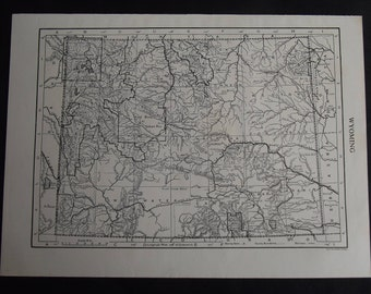 Vintage Map of Wyoming, United States, North America, c 1920s